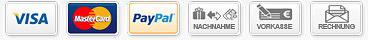 Zahlartenlogos: Visa, Mastercard, Amex, Paypal, SofortÜberweisung, Nachnahme, Vorkasse, Rechnung