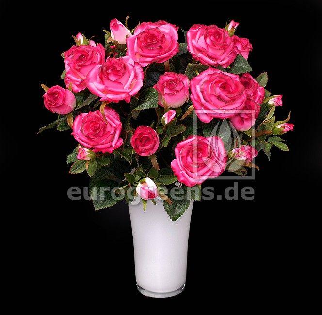 Strauß Amsterdam Exklusiv 32x28cm rosa-pink mit 16 Rosen Kunstblumen künstlicher