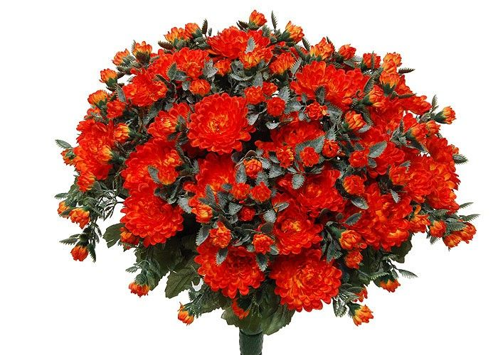 Kunstblume Chrysanthemenbusch orange