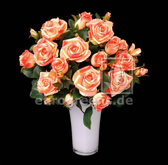 künstlicher Rosen-Strauß apricot 50cm hoch (mit Einsteckstab/ ohne Vase)
