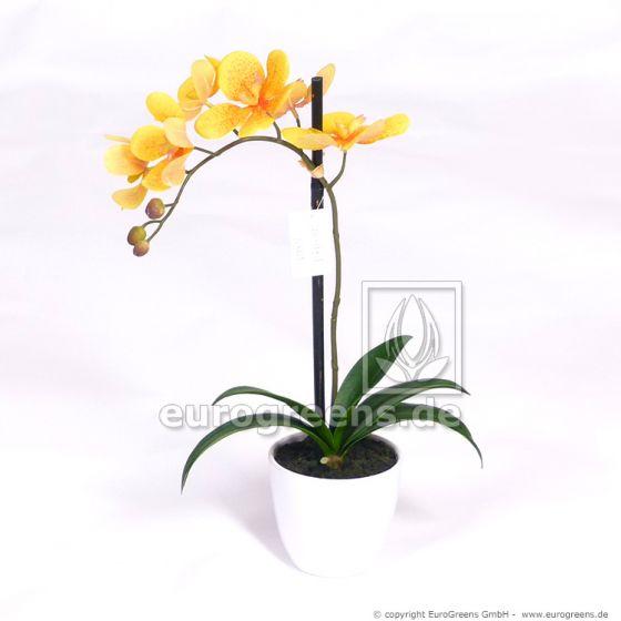 künstliche gelbe Orchidee in weißem Melamintopf ca. 50cm