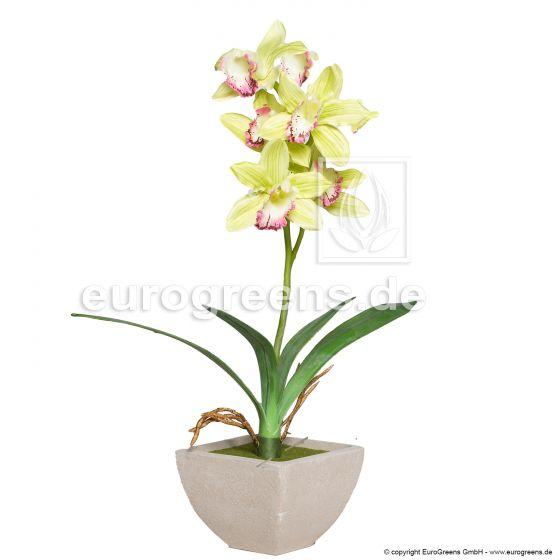künstliche Cymbidium Orchidee ca. 50cm limettengrün