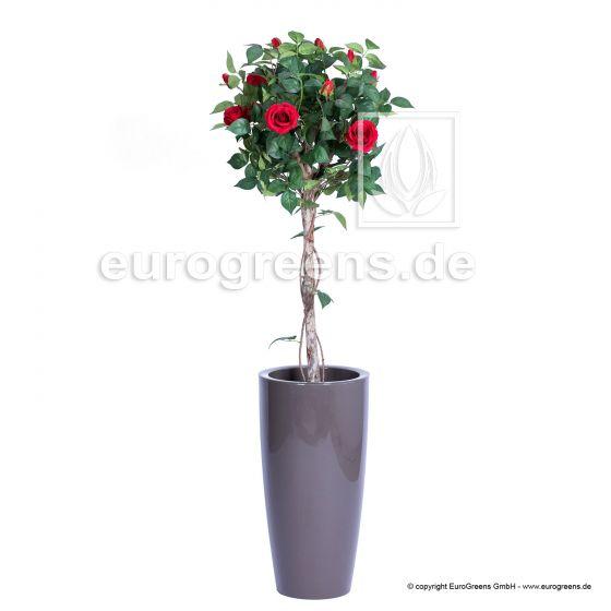 künstliche Rose rot am Hochstamm ca. 125cm