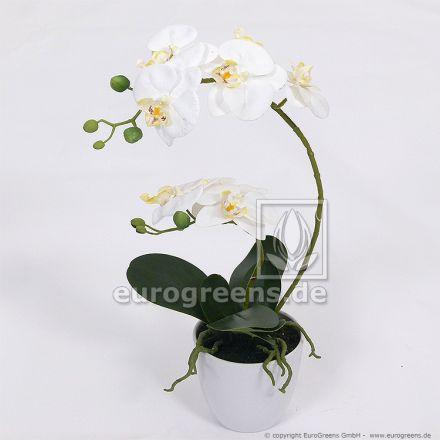 künstliche weiße Orchidee in weißem Melamintopf ca. 60cm