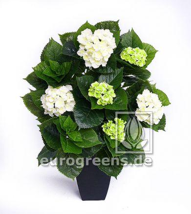 Kunstpflanze Hortensie Deluxe grün/weiß blühend ca. 80cm