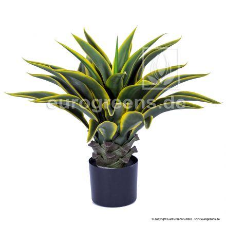 künstliche Agavenpflanze ca. 55cm grün/gelb