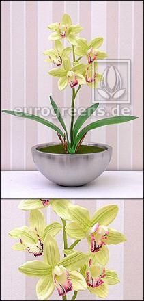 künstliche hellgrüne Cymbidium Orchidee ca. 50cm