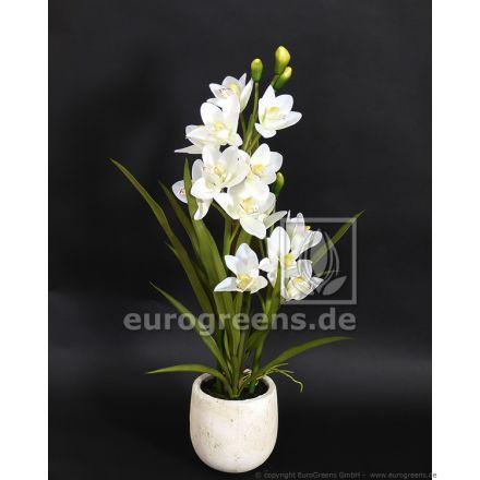 künstliche weiße Orchidee mit Ziertopf in Steinoptik