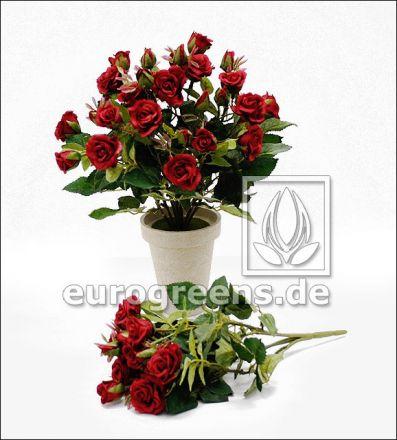 künstlicher roter Diamanten Rosen-Busch ca. 25cm