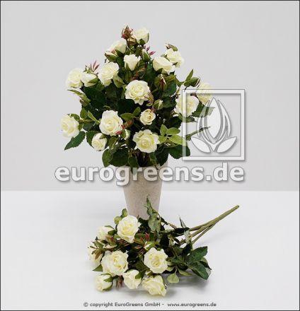 künstlicher weißer Diamanten Rosen-Busch ca. 25cm