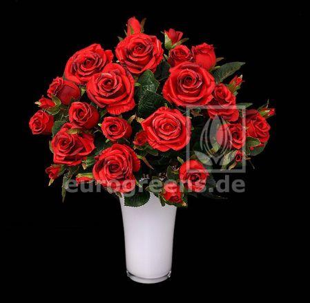 künstlicher Rosen-Strauß rot ca. 50cm hoch