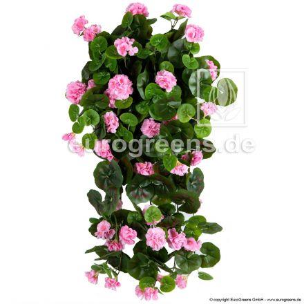 Kunstblume Hängegeranien rosa ca. 70cm (mit Einsteckstab/ ungetopft)
