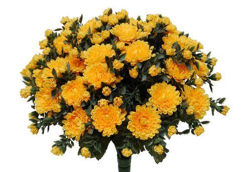 Kunstblume Chrysanthemenbusch sonnengelb (mit Einsteckstab/ ungetopft)
