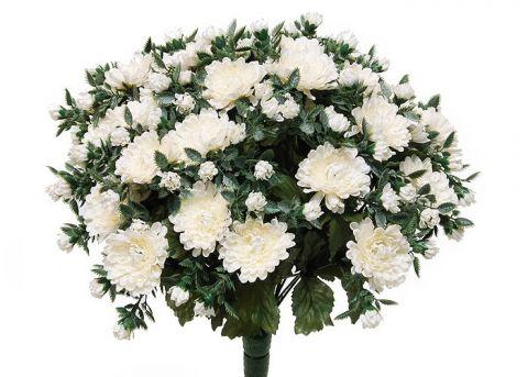Kunstblume Chrysanthemenbusch weiß (mit Einsteckstab/ ungetopft)