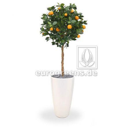 Kunstpflanze Orangenkugelbaum mit Echtholzstamm und Früchten