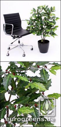 Stechpalme Ilex künstlich ca. 110cm mit roten Beeren
