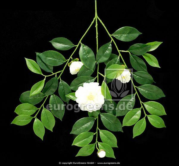künstlicher Gardenien Blütenzweig mit creme/weißen Blüten und Knospen