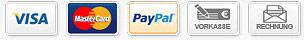 Zahlartenlogos: Visa, Mastercard, Paypal, Vorkasse, Rechnung